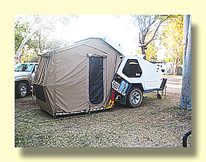 Note that the tent doesnu0027t sit on the ground it rests on a metal platform that folds out from the trailer. Sleeping accomodations are in the trailer ... & September 23 2012